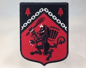 Krampus Rampant heraldic Medieval shield embroidered patch | Christmas/Yule monster demon military badge insignia
