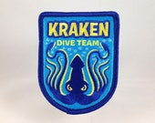 Kraken Dive Team embroidered patch | cryptozoology paranormal monster military badge squid water ocean scuba snorkel