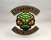 Reptilians cryptid motorcycle club biker embroidered patch