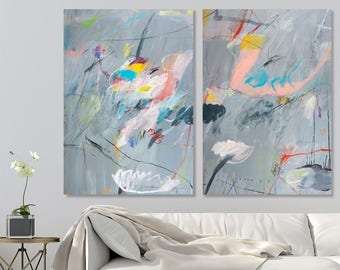 Large ABSTRACT PAINTING Set of two Canvas Painting Set Large diptych painting Original abstract art by Duealberi