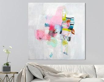 Abstrakte Malerei ursprünglichen Wandkunst, große Leinwand Kunst, abstrakte Kunst, Haus Malerei, Hochzeitsgeschenk, bunte Gemälde, 32 x 32 von DUEALBERI