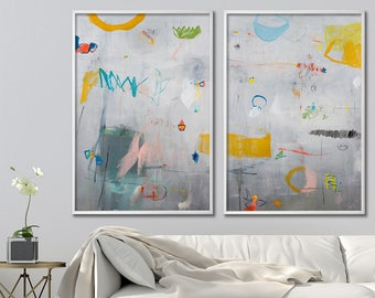 ABSTRACT PAINTING Print on canvas giclee Extra Large wall art Grey Abstract Art with yellow aqua colorful modern art by Duealberi