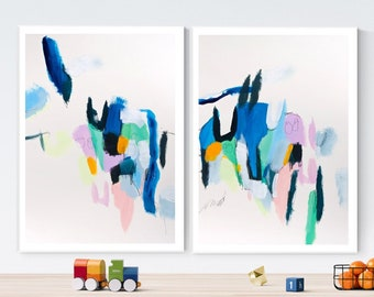 Wall art set of 2 Abstract Painting. Large abstract print Extra large wall art, Mid century modern geometric art.