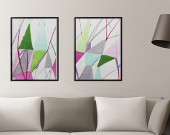 Contemporary art, Large ABSTRACT Painting Original Pink and green artwork, Geometric art, modern wall art, Duealberi