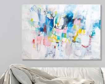Abstrakte Malerei auf Leinwand, große Wandkunst, große Leinwand Kunst, bunte große abstrakte Kunst über dem Bett von Duealberi
