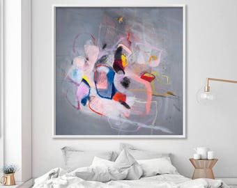 Abstract Art Print, Abstract Painting Print, large art print, grey giclee print with pink, modern wall art, contemporary art by Duealberi