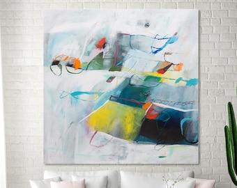 Abstrakte Malerei-Druck, zeitgenössische Kunst, große moderne Wandkunst, abstrakte Kunst-Druck, weiße große Leinwand Kunst von Duealberi