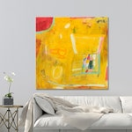 Yellow painting. Original artwork, Abstract painting, Beach house decor.