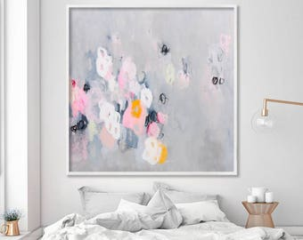 """Abstract Painting Print, Abstract Art Print, Grey and Pink Modern wall art, Large Canvas Art """"Sparkles 06"""" by Duealberi"""