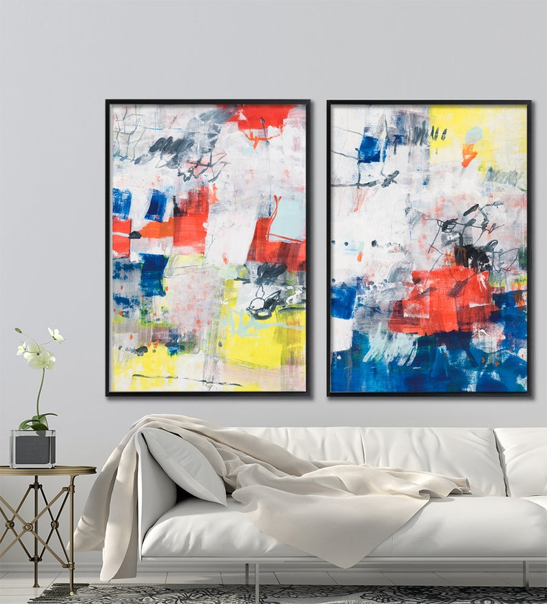 Abstract Painting Large Wall Art Set Of 2 Original Painting Geometric Art