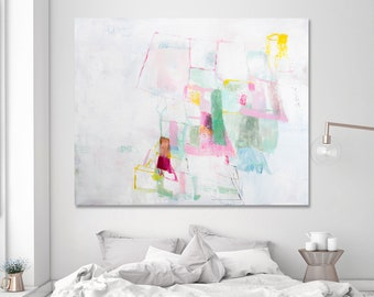 Abstract painting original artwork, extra large wall art, large canvas art, white painting, Dream House painting 48x40 wedding gift