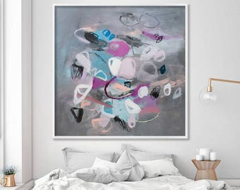 Canvas art, Large wall art prints of acrylic painting, grey abstract art print, geometric art by Duealberi