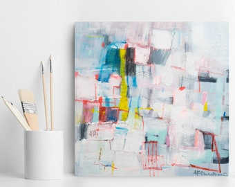 Abstract Painting, Abstract Canvas Painting, Original Artwork, Contemporary Art, Colorful Modern Art, gift for her, trending now Duealberi