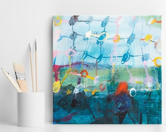 Abstract painting, original artwork, painting on canvas, small painting, art gift for her, acrylic painting, colorful modern art, Duealberi