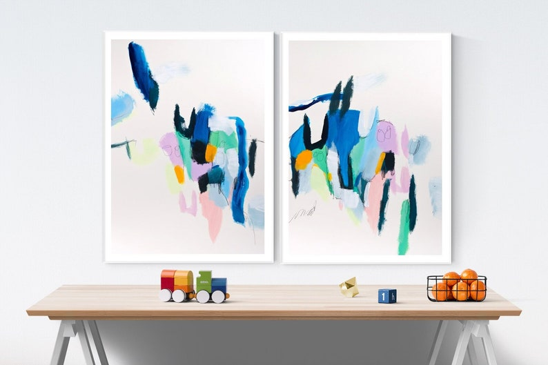 Wall art set of 2 Abstract Painting. Large abstract print image 0