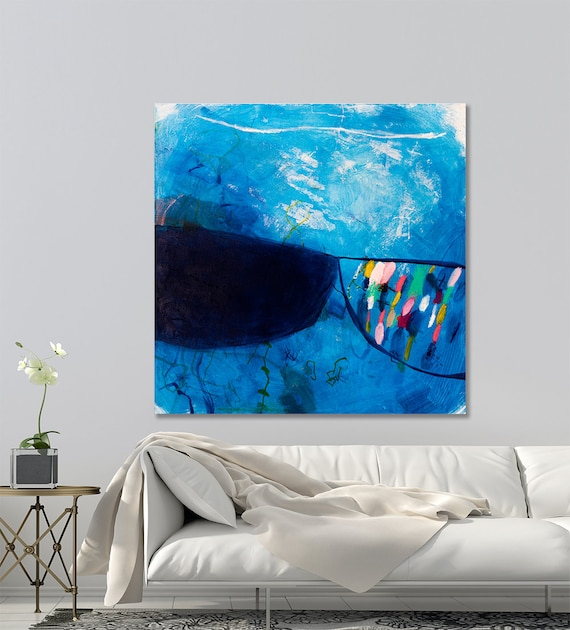 Large Original Abstract Painting Canvas Painting Dark Blue Modern Contemporary Art Large Office Art By Duealberi