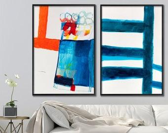Large wall art abstract painting, abstract art prints, set of two wall art prints, giclee print of original art, geometric art, Duealberi