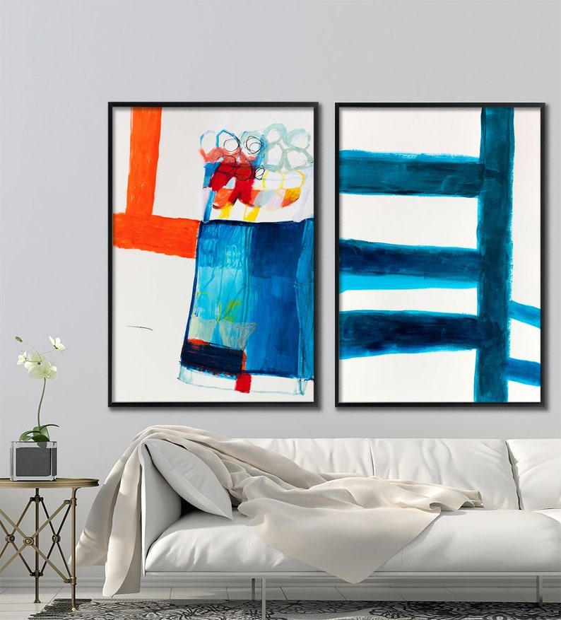 Abstract painting Set of two wall art prints Large wall art image 0