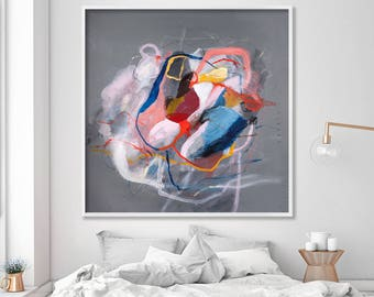 """Abstract floral art Print from Large Grey painting """"Sparkles 19"""", colorful modern wall art pink up to 40x40 by A.F. Duealberi"""