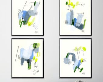 Abstract Prints Set of 4 GICLEE PRINTS. Blue yellow green, modern painting 8x10, 11x14 or 16x20