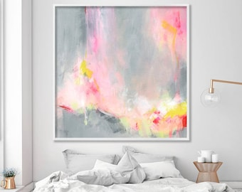 """Large wall art of acrylic painting, abstract painting print """"Hooponopono 02"""", large art prints, modern Abstract Art in grey and pink"""