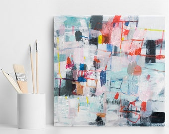 Abstract painting, Acrylic painting, home decor, small original art, colorful, modern painting, gift for her, wall art, geometric art