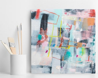 Abstract Painting, Original Artwork, Abstract Canvas Painting, Contemporary Art, Colorful Modern Art, gitf for her, Duealberi