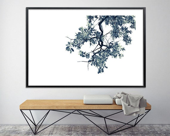 Modern oak tree print black and white above bed wall art | Etsy