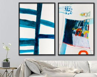 Abstract painting print, Set of two art prints wall art prints, geometric art,  Blue Abstract art by Duealberi