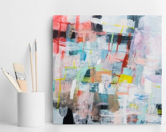 Abstract painting, original art, colorful, modern painting, contemporary art, gift for her, wall art, geometric art, by Duealberi
