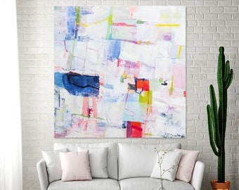 ABSTRACT PAINTING on Canvas, Large Abstract Art,  Colorful Canvas Painting, Modern Painting,, Contemporary art, Above Couch Art  Duealberi
