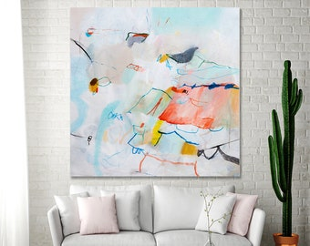 Abstract Painting PRINT, Large wall art prints of acrylic painting, large canvas art, colorful abstract art, white coral pink, Duealberi