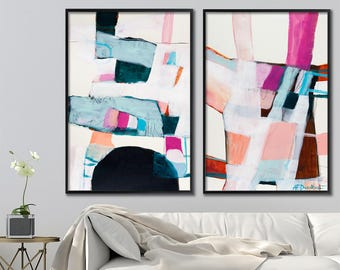 Large wall art, Abstract Painting Print of Acrylic Painting, set of two wall art prints, abstract art, Pink Painting by Duealberi