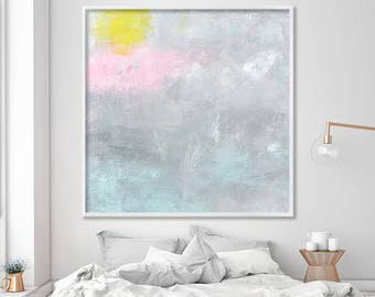 Canvas art, Large wall art prints of original art, abstract art in grey and pink, abstract painting, minimalist art by Duealberi