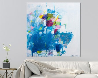 """Large Abstract painting on Canvas art, Abstract art, Contemporary art, Modern painting Blue Painting 32x32 """"L.A. Mornings  01"""""""