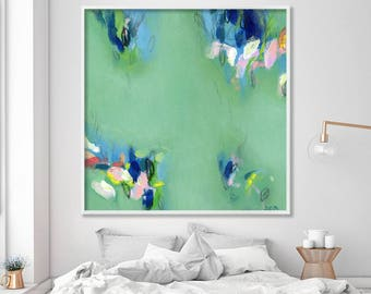"""Large wall art, ABSTRACT giclee print, abstract painting print up to 40x40"""", modern wall art, Abstract Art, green painting by Duealberi"""