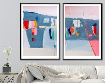 Extra large wall art, Wall art set of 2 abstract painting prints, large geometric art