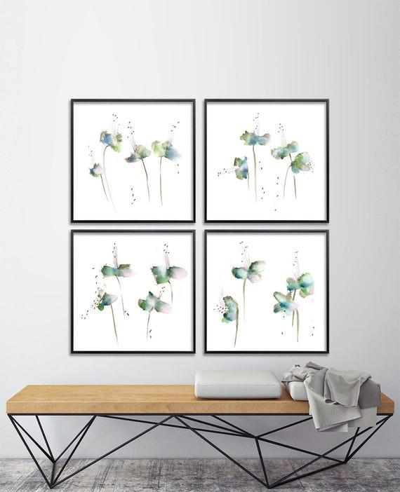 Vert émeraude 8 X 8 Fleur Aquarelle Impression Ensemble Etsy