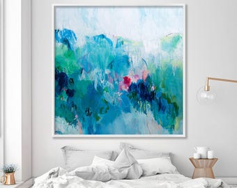 """Large Abstract Print from canvas painting 40x40"""" giclee Blue painting with green - modern Painting wall art prints by Duealberi"""