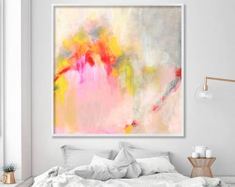 "Abstract PRINT of acrylic painting ""Hooponopono 01"", delicate Abstract Art, giclee print large wall art pink grey yellow"
