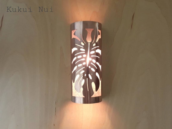 Monstera Leaf Copper Sconce Light Fixture 5