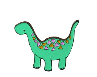 Dinosaur Pin - Enamel Geometric Dinosaur Pin -  Young Brontosaurus Pin