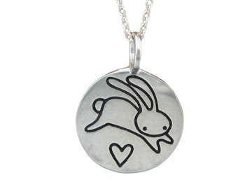 Jumping Bunny Necklace -  Rabbit Necklace - Love Bunny Necklace