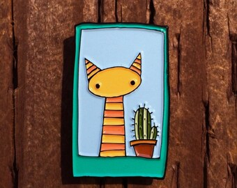 Cat and Cactus Gift Pin -  Desert Cat Pin