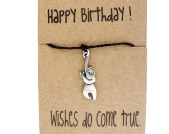 Wish Bracelet, Birthday Gift for Girls, Sloth Bracelet, 2020 Birthday