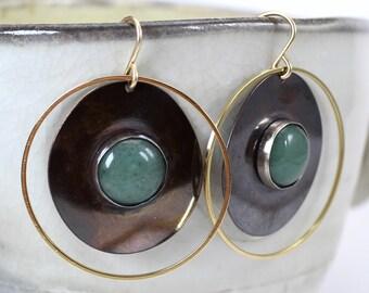 Jade Hoop Earrings - Boho Gemstone Patina Hoops