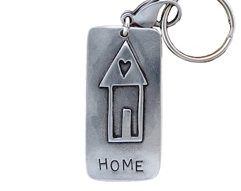 Home Key Chain with House Symbols - New Home Gift