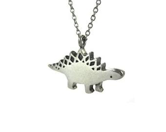 Stegosaurus Dinosaur Necklace with Geometric Pattern - Pewter Stegosaurus Pendant