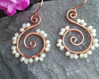 Copper swirl earrings