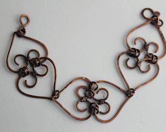Patinated Copper Heart Bracelet